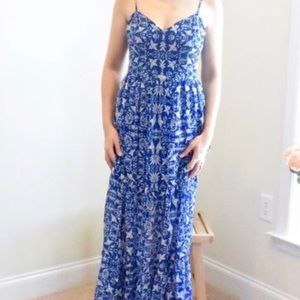 Xhiliration Blue Bird Maxi Dress